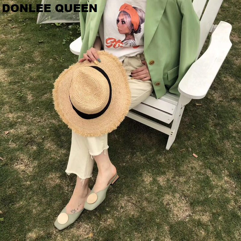 2020 Brand Designer Women Slippers Slip On Mules Flat Heel Casual Shoes British Buckle Slides Wooden Block Heels Summer Footwear 3