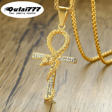 oulai777 2019 wholesale stainless steel fashion necklace women men pendants long jewelry gold chain personalized cross snake