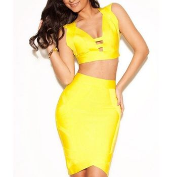 Sin mangas amarillo cuello pico Sexy dos 2 piezas mujeres vestido ahuecado corto cóctel fiesta ceñido al cuerpo Club vestidos de vendaje