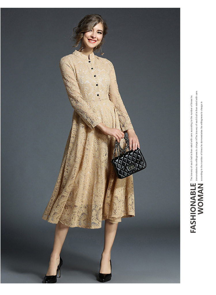 Stand Neck Long Sleeve Office Work Elegant Lace Dress 6