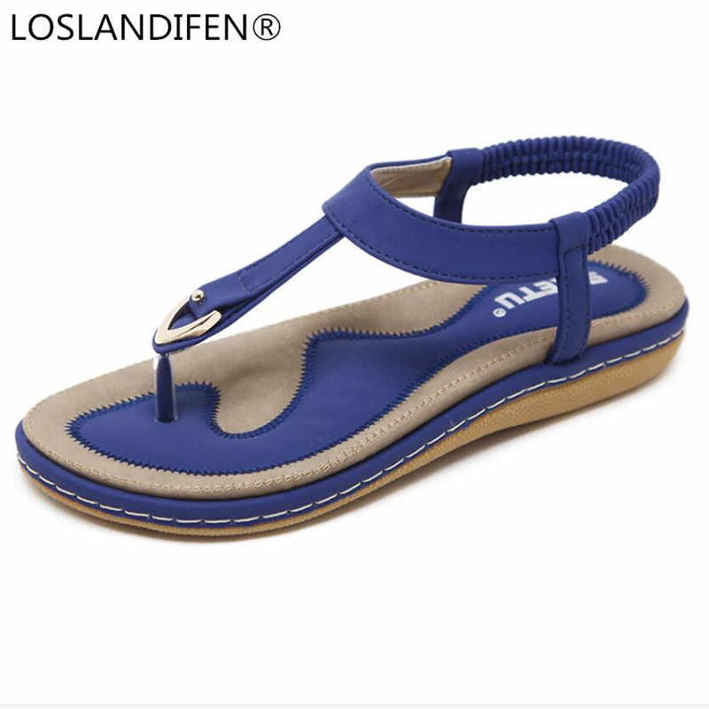 a9d9a3ec9cb1c7 Summer Shoes Women Bohemia Ethnic Flip Flops Soft Flat Sandals Woman Casual  Comfortable Plus Size Wedge