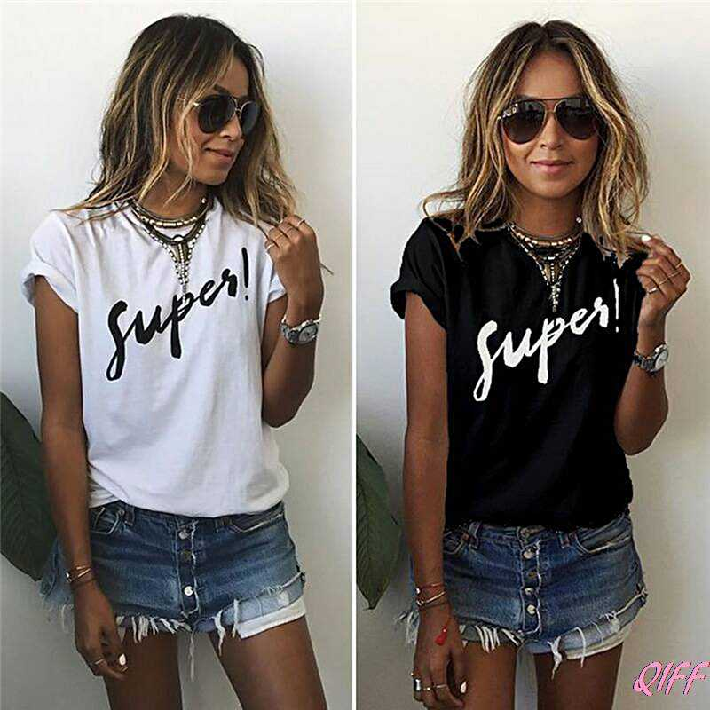 Drop&Wholesale Summer Women Loose Print Super T Shirt Cotton Letter Tops Tee Short Sleeve APR28