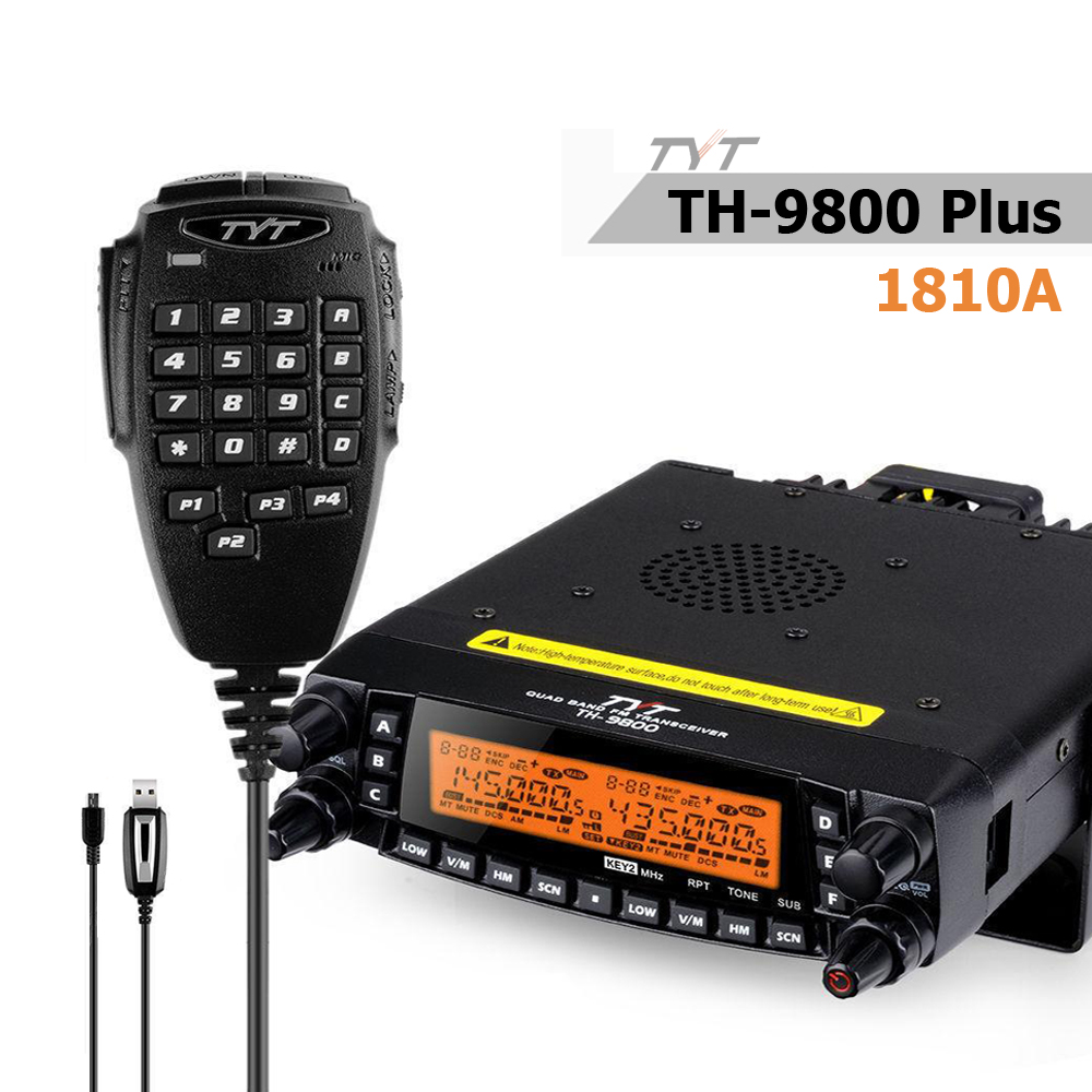 TYT TH-9800 Pro 50W 809CH Quad Band Dual Display Repeater Scrambler VHF UHF Transceiver Car Truck Ham Radio With Programming