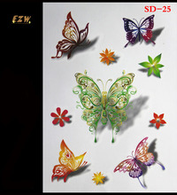 3 D Temporary Tattoos Tattoo Colorful Butterfly Body Art Waterproof Paper Female Or Male Body