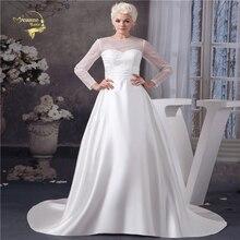 Fashion Satin Wedding Dresses 2020 High Quality Bridal Gown Vestido De Noiva Robe De Mariage Long