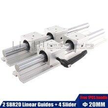 2 rieles de guía lineal SBR20 con 4 deslizadores SBR20UU, 200 1000mm, guía lineal de 20mm, rodamiento de bolas, asiento, fresadora CNC