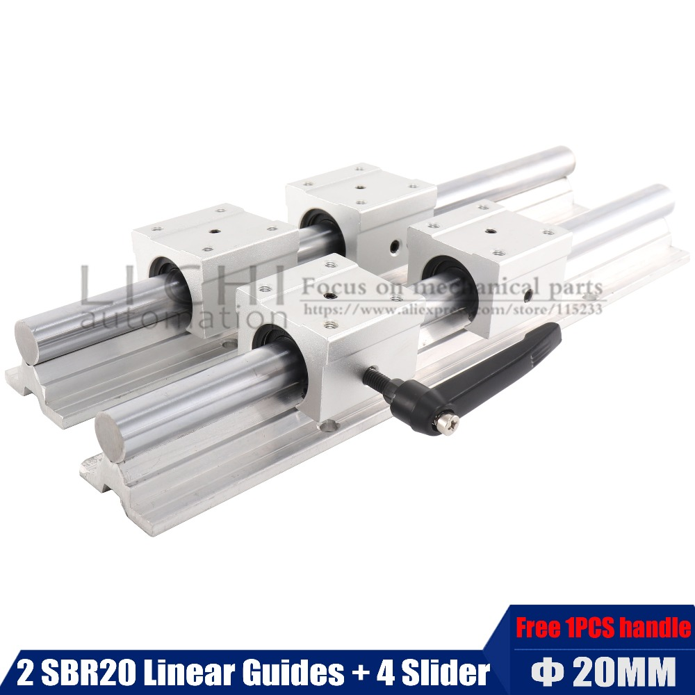 2pcs SBR20 linear guide 20mm Linear rails 4 pcs SBR20UU Ball Bearing Block CNC Router 2pcs sbr20 linear guide 20mm linear rails 4 pcs sbr20uu ball bearing block cnc router