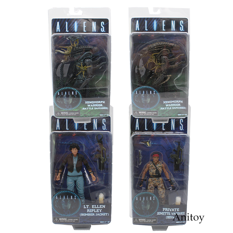 NECA ALIENS Series Xenomorph Warrior Private Jenette Vasquez PVC Action Figure Collectible Model Toy 17-21cm neca a nightmare on elm street freddy krueger 30th pvc action figure collectible toy 7 18cm