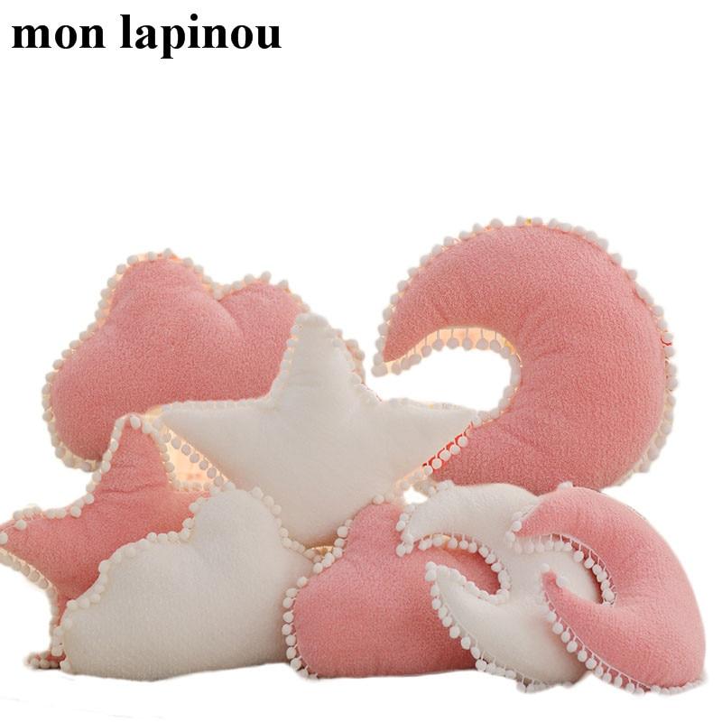 Cloud Plush Pillow Pink White Stuffed Soft Star Throw Pillow Moon Cushion Baby Kids Pillow Sofa Home Decor Girls Pillow &Cushion