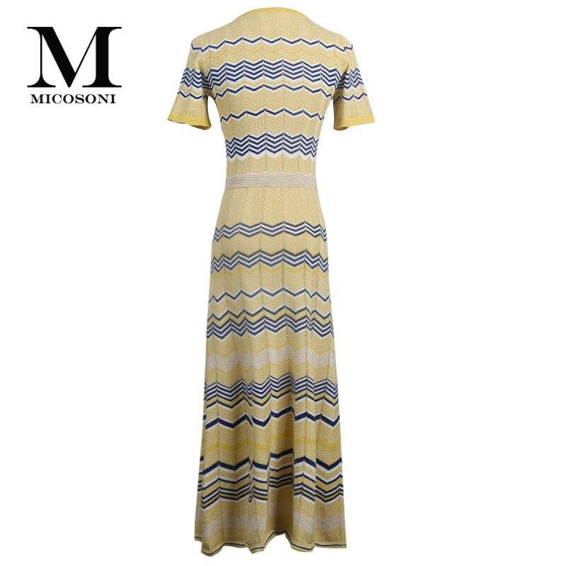Micosoni อิตาเลี่ยนถักสไตล์ฤดูร้อน 2019 ใหม่ด้ายสีทอง Hollow Out สีลาย Loin ถัก Lady's สีเหลืองสีฟ้าสีแดง-ใน ชุดเดรส จาก เสื้อผ้าสตรี บน   3