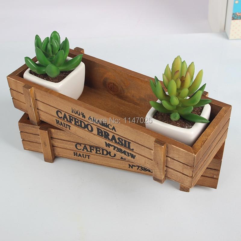 1PC Longming hOme Zakka wooden flowerpot retro wooden gardening fleshy succulent flower wood storage box creative JL 0931 7
