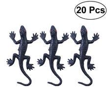 Gecko-20 piezas de plástico negro, broma, artilugio divertido, decoración horrible para fiestas de Halloween, disfraz de carnaval, fiesta