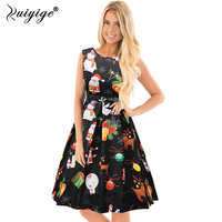 Ruiyige 2017 Christmas Dress Red Black Women Newly Girls Santa Red Christmas Pattern Printed Slim Waist