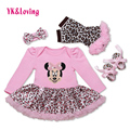 Wholesale Cotton Baby Girl Romper with Cartoon Pattern Leopard Print Tutu Dress Long Sleeve Newborn Girls Clothing Set 2017   Yi