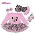Wholesale Cotton Baby Girl Romper with Cartoon Pattern Leopard Print Tutu Dress Long Sleeve Newborn Girls Clothing Set 2017   Yi