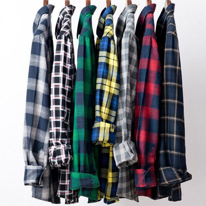 Men Long Sleeve Grind Cotton Flannel Single Breasted Shirts Camisa,Plaid Printed Add Wool Warm Winter Autumn Camisa Shirts