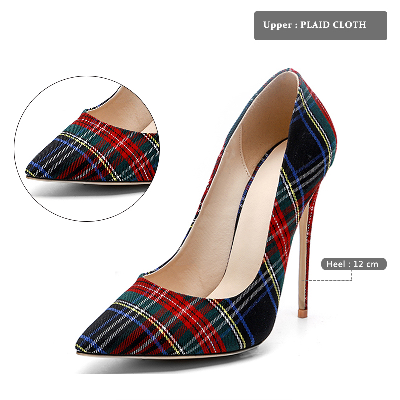 Pumps Heels Red Pointed Plaid Shoes 9