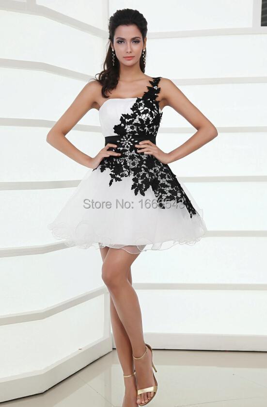 Vestidos de fiesta blanco y negro corto