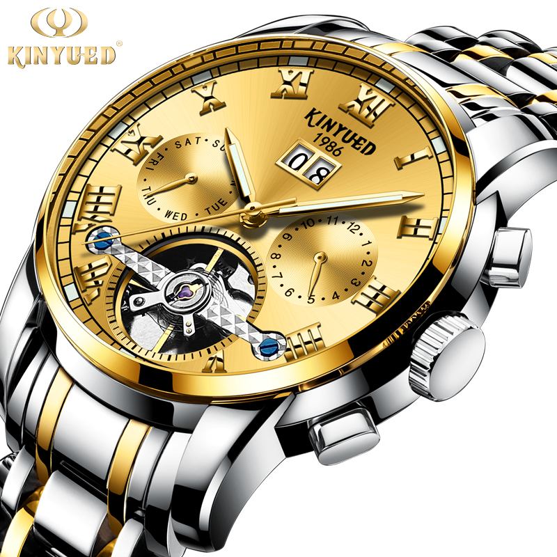 KINYUED Luxury Gold Mens Automatic Mechanical Watches Stainless Steel Top Brand Watch Men Dress Calendar Tourbillon reloj hombre tourbillon auto mechanical mens watches top brand luxury wrist watch automatic clock men stainless steel skeleton reloj hombre