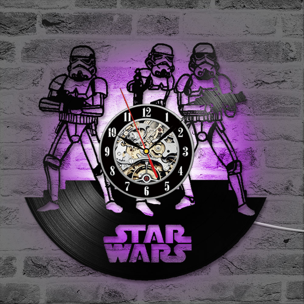 Vinyl LP Record 3D Record Wall Clock Star Wars Hollow CD Record Clock Home Hanging Wall Clock Creative And Antique Style Clock