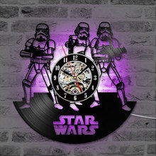 Vinyl LP Record 3D Wall Clock Star Wars Hollow CD Home Hanging Creative and Antique Style