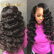 Karizma Brazilian Loose Wave Bundles With Closure 100% Human Hair Weave Bundles 3 Bundler Med Closure Free Part Non Remy Hair