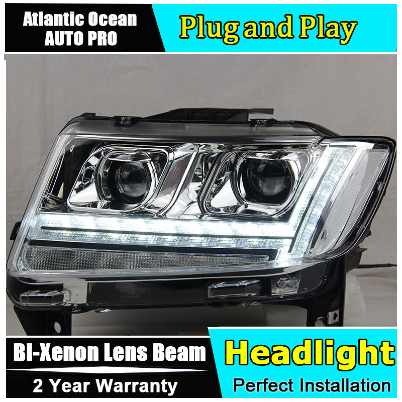 Auto.Pro Car Styling for Jeep Compass LED Headlight Compass Headlights DRL Lens Double Beam HID KIT Xenon bi xenon lens hireno headlamp for 2016 hyundai elantra headlight assembly led drl angel lens double beam hid xenon 2pcs