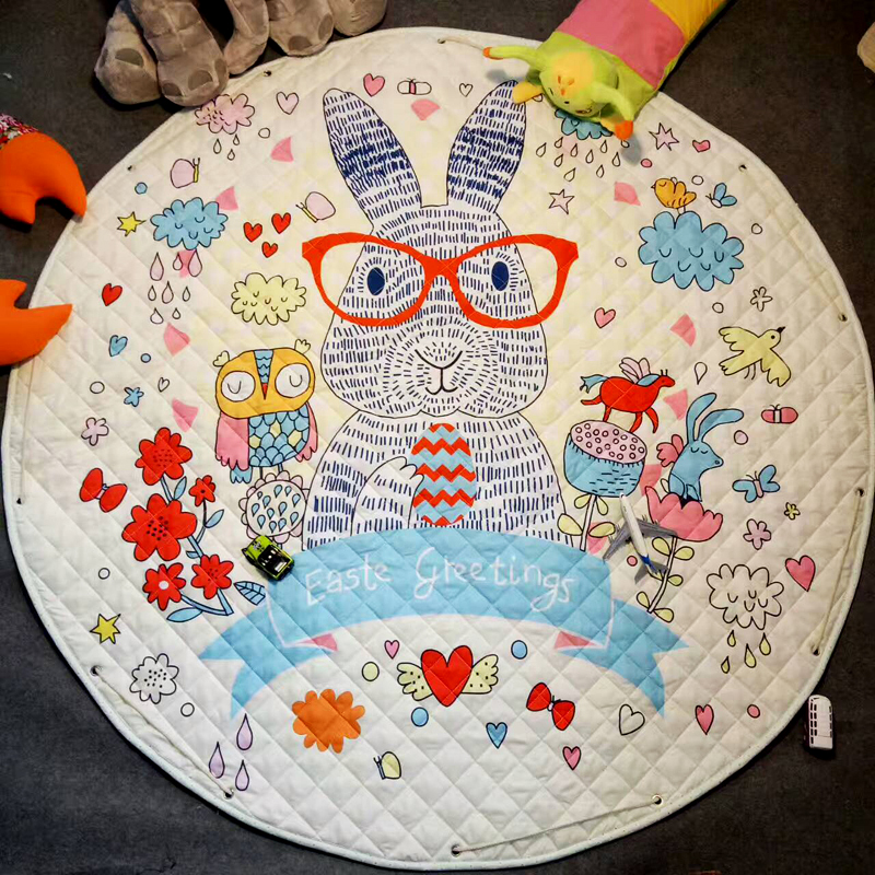 1.5M Round Cute Bunny Giraffe Cartoon Baby Crawling Quilted Carpet Kids Play Games Toys Storage Mat Portable Trip Rest Rugs