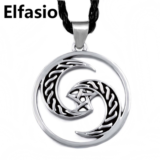 Mens boys silver crescent moon pentacle pentagram wicca pagan pewter mens boys silver crescent moon pentacle pentagram wicca pagan pewter pendant with 61cm necklace jewelry lp319 aloadofball Image collections