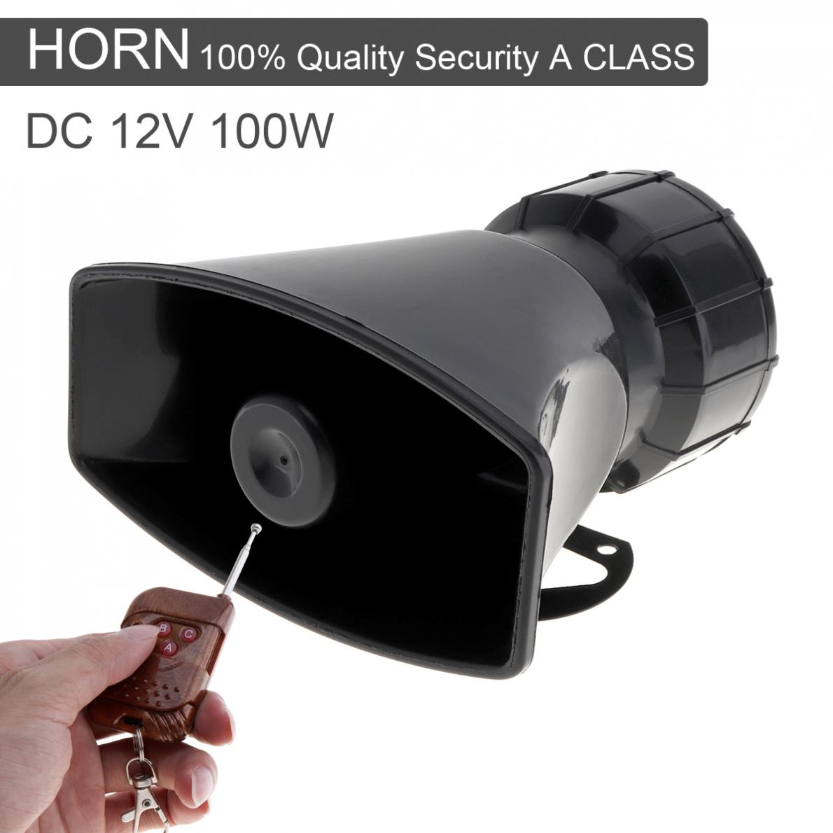 100W 12V 7 Sound Loud Car Warning Alarm Police Fire Siren Horn Speaker with Brown Remote Controller