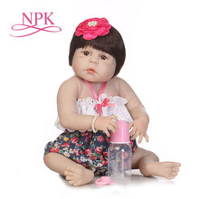 NPK 57cm lovely full silicone sumilation reality recién nacido niña con corona tocado silicona reborn baby dolls(China)