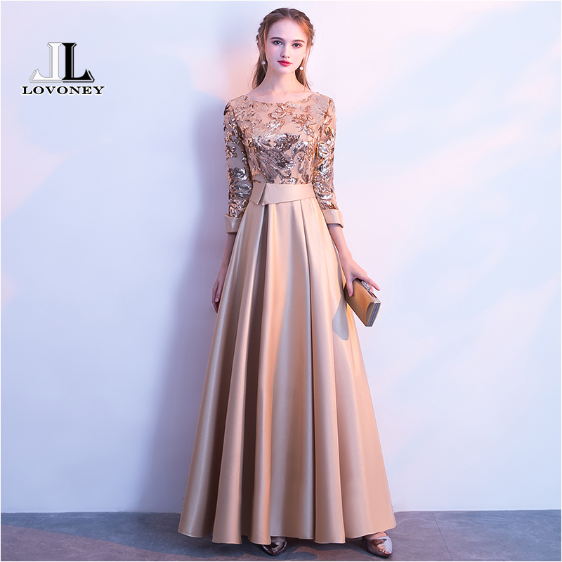 LOVONEY A Line Sequins Golden Evening Dress Long Prom Party Dresses Evening Gown Formal Dress Women Elegant Robe De Soiree M254(China)