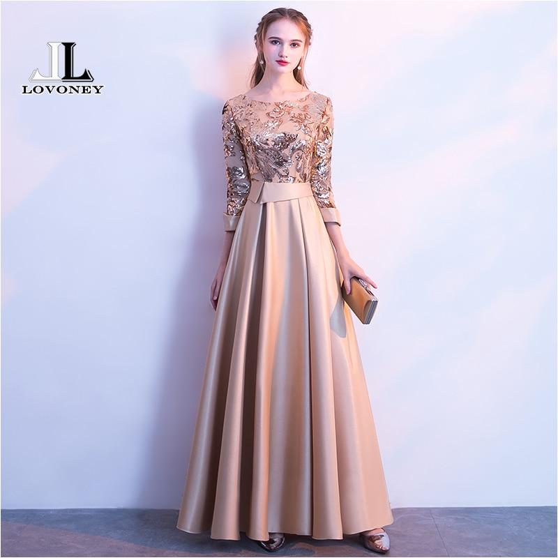 LOVONEY A Line Sequins Golden Evening Dress Long Prom Party Dresses Evening Gown Formal Dress Women Elegant Robe De Soiree M254 gown