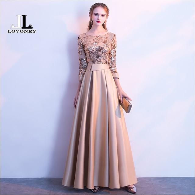 LOVONEY UMA Linha de Lantejoulas de Ouro Vestido de Noite Longo do Baile de finalistas Vestidos de Festa Vestido de Noite Formal Vestido de Mulher Elegante Robe De Soirée m254