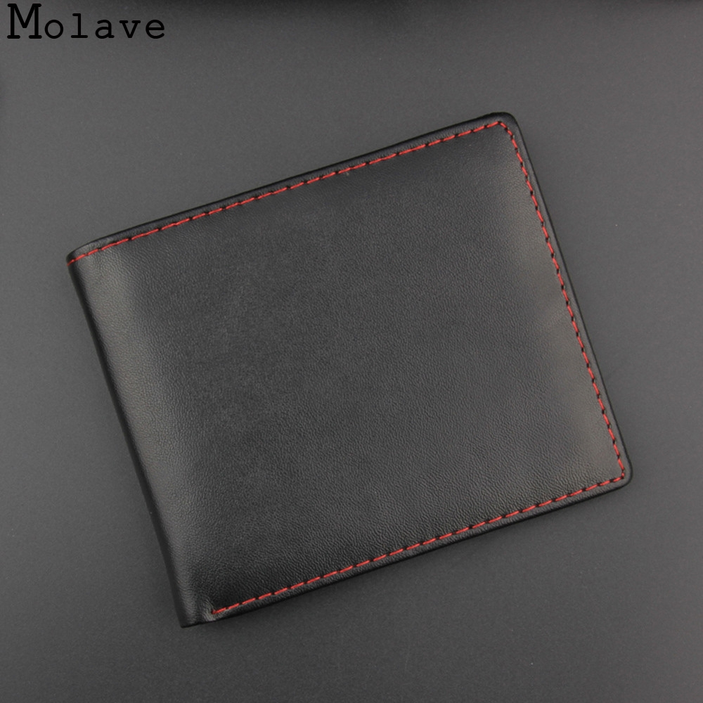 MOLAVE wallet Men Bifold Business Leather ID Credit Card Holder Purse Pockets Black high quality new wallet men dec20 2016 hot sale wallet men long purse high quality pu leather stylish bifold business card holder coin wallet bolso masculino