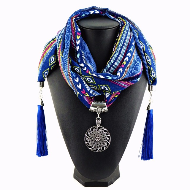 Scarf Necklaces for Women with Pattern Art and Tassel ends