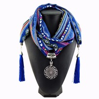 New Design Of Indian Wind 4 Color Silk Tassel Long Women S Fashion Scarf Pendant Necklace
