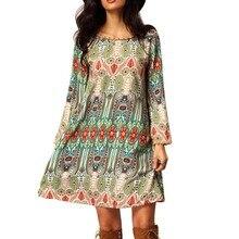 Мода Лето Винтаж Этническая Платье Сексуальные Женщины Boho Цветочные Печатный Повседневная Пляж Платье Свободные Сарафан