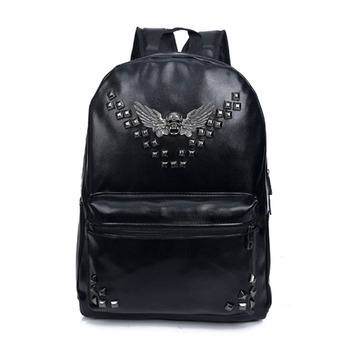 Retro Rivet Backpacks PU Leather Backpacks Vintage Punk Skull