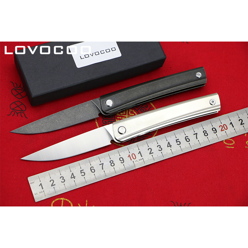 LOCOVOO LINE New arrival Flipper folding knife D2 blade Titanium handle Outdoor camping hunting Survival pocket knives EDC tools stenzhorn survival knife new rushed navajas 2017 s35vn knife bearing folding with a blade with high hardness in the wilderness
