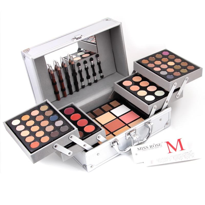 Makup Tool Kit scatola di Alluminio Tra Cui Luccichio Matte Eyeshadow Rossetto Correttore Blush, fard Spazzola di Trucco del Corredo Cosmetico Maquiagem
