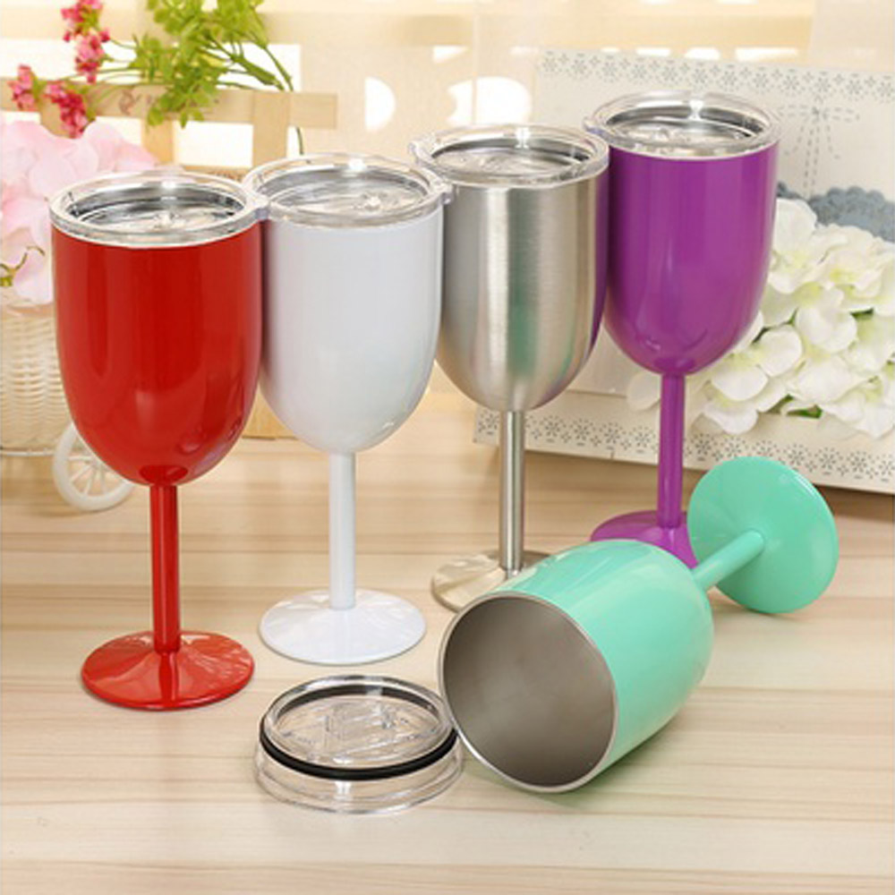 modern wine glass promotionshop for promotional modern wine glass  -  new stainless steel oz wine glass double wall insulated metal gobletwith lid rambler colster tumbler wine mugs