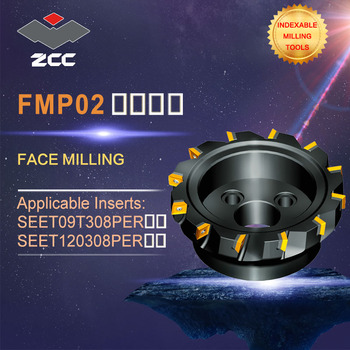 ZCC.CT original face milling cutters FMP02 high performance CNC lathe tools indexable milling tools face milling tools popular cnc lathe machining center indexable square shoulder milling tools holder with high precision pe05 17b32 100 08