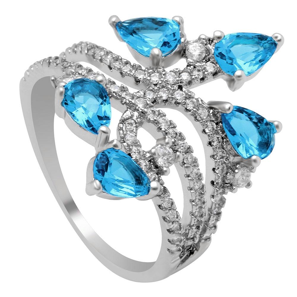 Flower czech zircon ring for women wedding party gift 2017 for Luxury gift for women