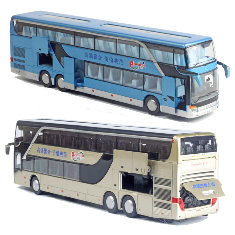 Hot Sale High Quality 1:32 Alloy Pull Back Bus Model,high Imitation Double Sightseeing Bus,flash Toy Vehicle,free Shipping