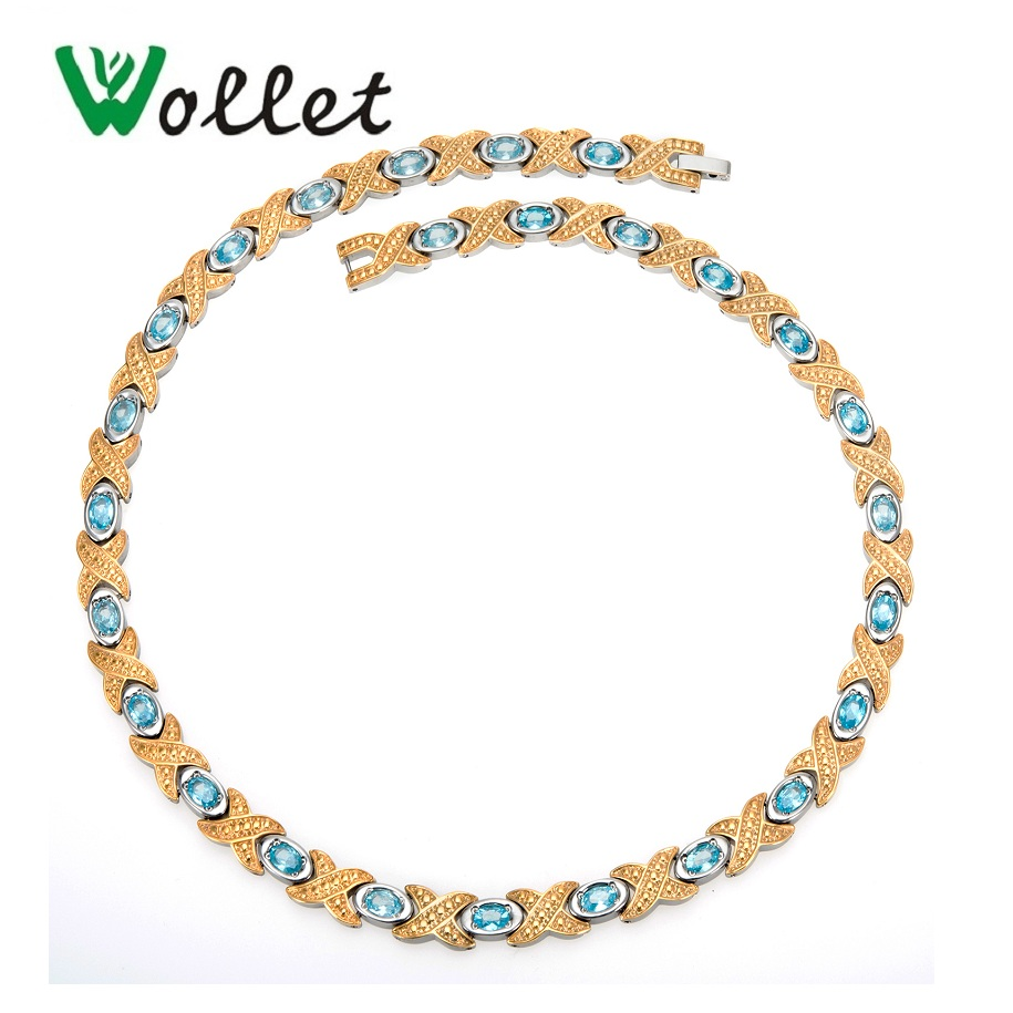 Wollet Jewelry Health Care Healing Energy Pure Titanium Magnetic Necklace for Women Infrared Germanium Gold Silver