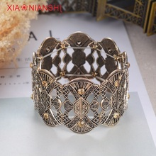 hot deal buy vintage tibetan diamond jewelry ethnic bohemian male bracelet for men wide carved flower gold plated pulseras elastic bracelets