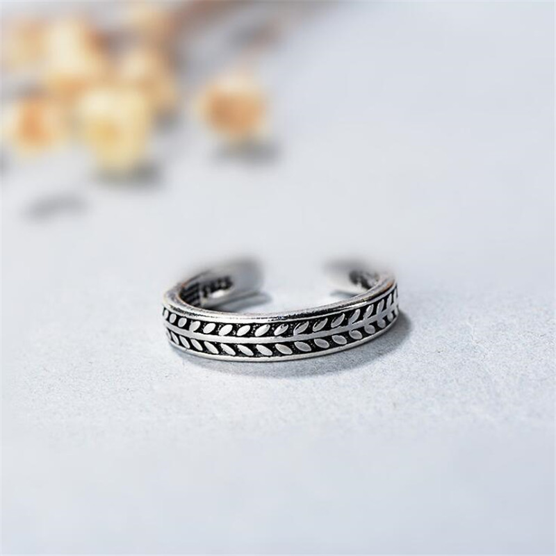 New Personality Temperament Leaf Retro Thai Silver 925 Sterling Silver Jewelry Olive Leaf Creative Opening Rings SR245