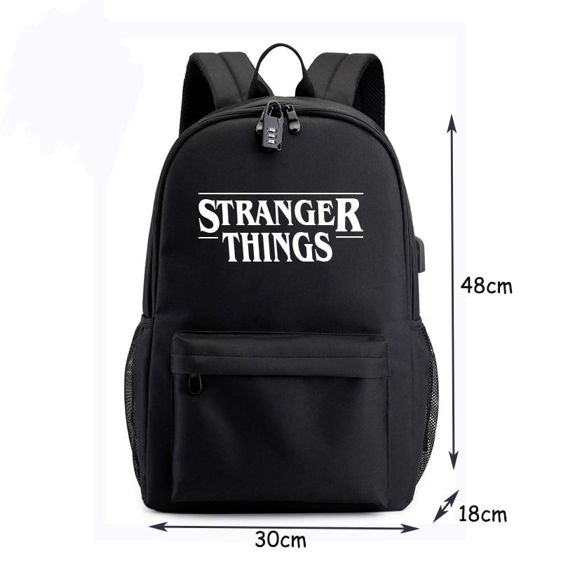 BPZMD Luminous Bag Multifunction USB Charging Stranger Things Travel Canvas Student Backpack For Teenagers Boys Girls School Bag