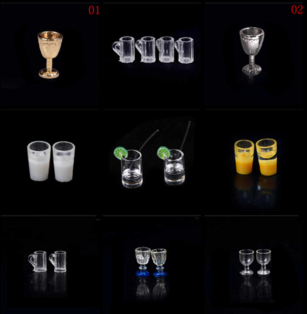 1/2/4/10/13pcs 1/12 Wine Glass Cups Dollhouse Miniature Goblet Glass Cup Beer Mug Doll House Kitchen Furniture Toys Accessories